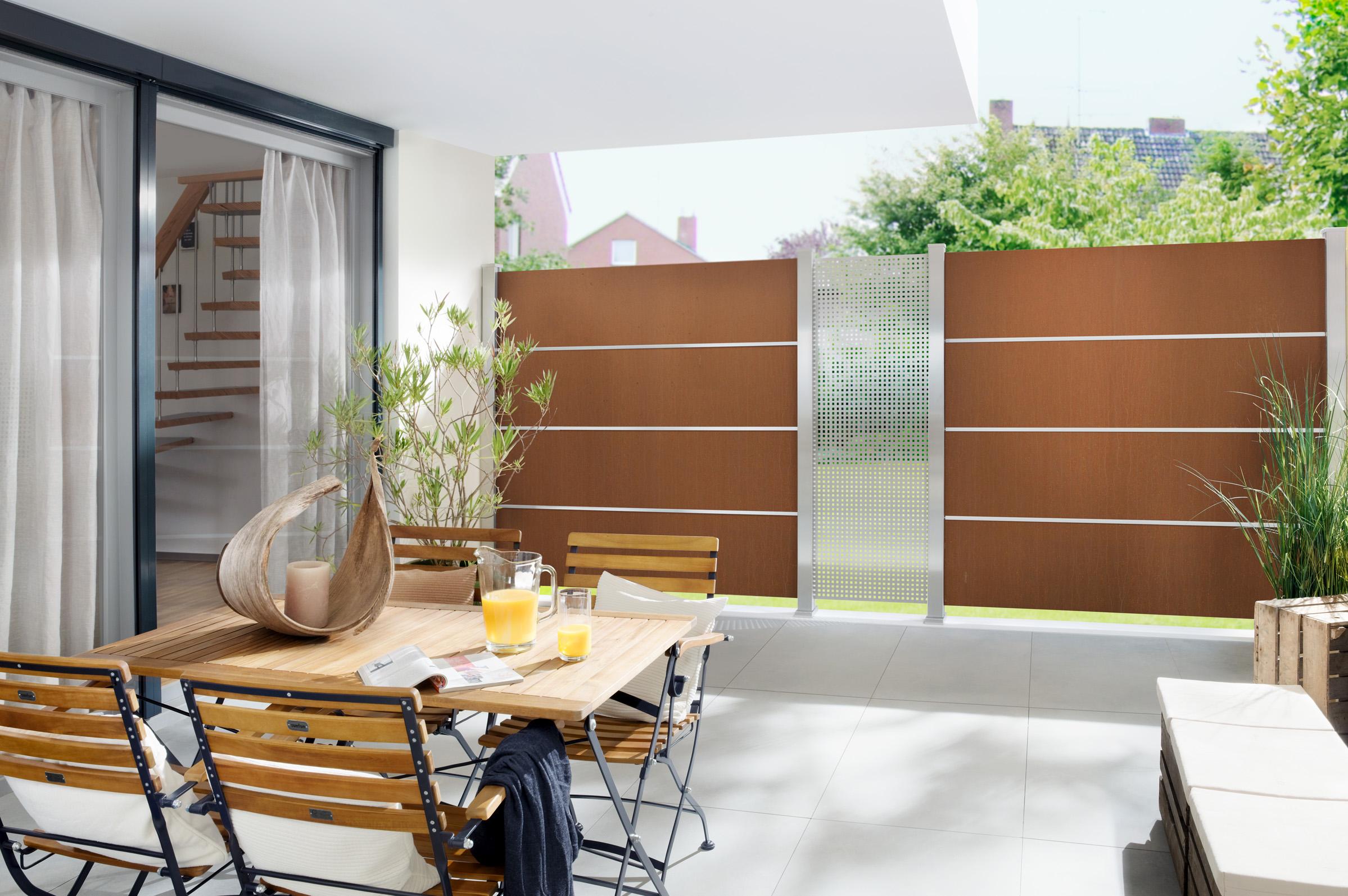 sichtschutz aus edelrost. Black Bedroom Furniture Sets. Home Design Ideas